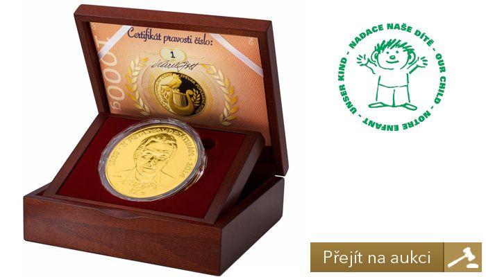 Dobročinná aukce zlaté medaile Karel Gott s číslem 1