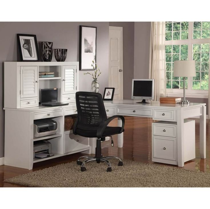 astounding lshaped white desk with hutch for home office with black rolling chair white