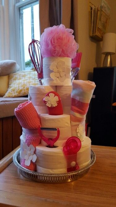 Bridal cake Madr from toilet paper and kitxhen items all in pink theme  Bride to be loved it!!