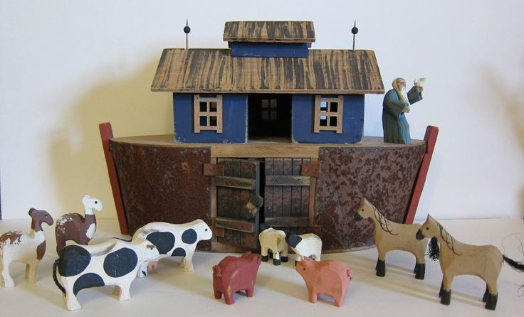 Primitive Folk Art Nosh's Ark by Millwood Toy Berry Grosscup Hand Made in USA | eBay