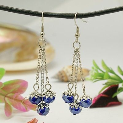 Fabulous Earrings, with Abacus Glass Beads, Iron Chains and Brass Earring Hooks, Blue