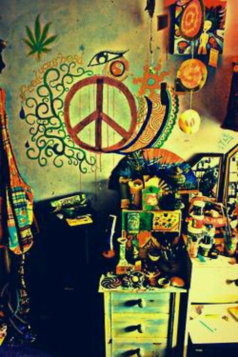 Hippie Cave Peace Sign Weed Bedroom
