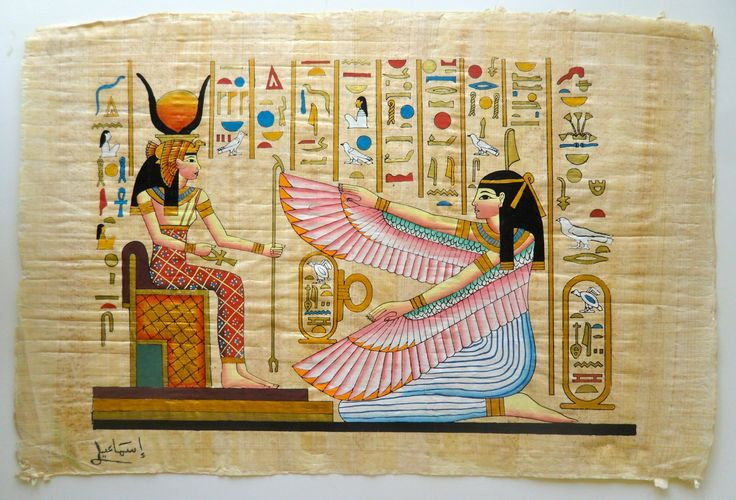 This is a top quality large papyrus painting hand painted for Egyptian mural art