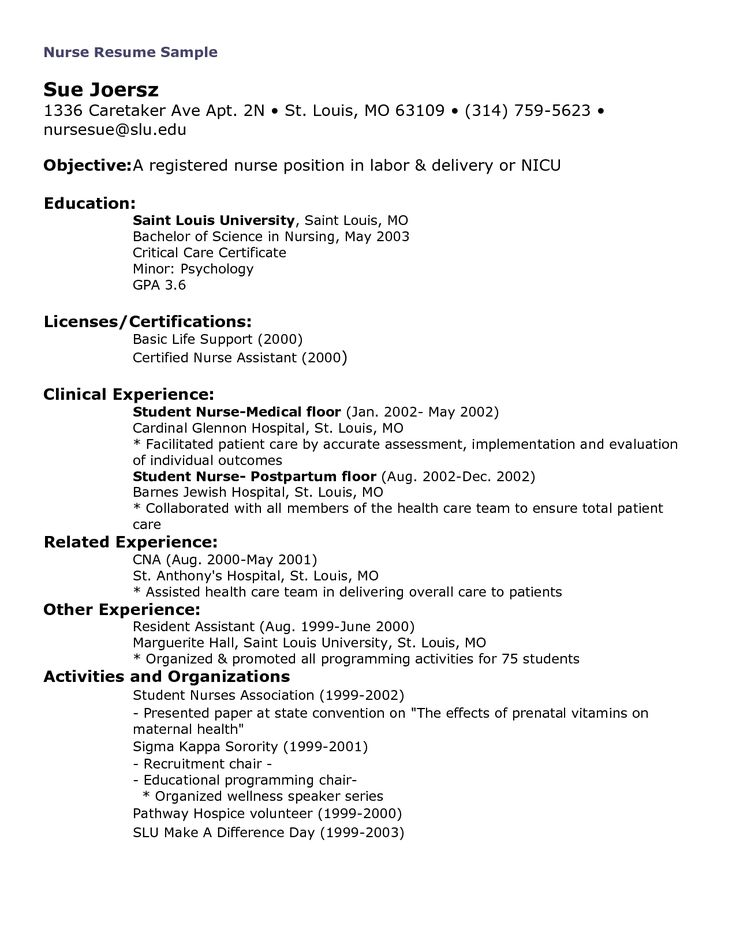 The  Best Nursing Resume Examples Ideas On   Rn