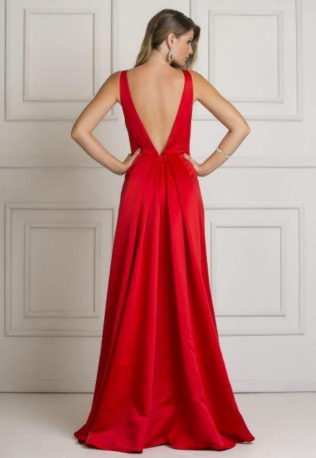 Seleção com 05 vestidos de festa longos na cor vermelha