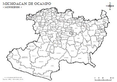 Mapa de municipios de Michoacán de Ocampo con nombres, para colorear.