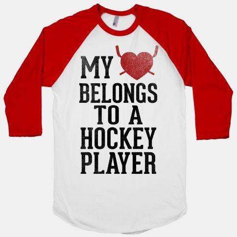 My Heart Belongs To a Hockey Player (Baseball Tee) | HUMAN