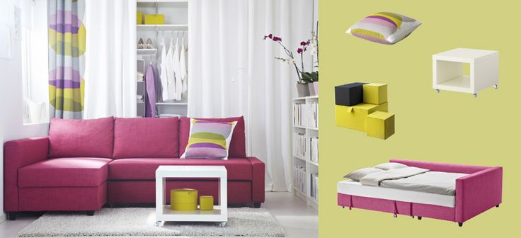 Potential or media room.  FRIHETEN corner sofa-bed with Skiftebo cerise cover and LACK white side table on castors