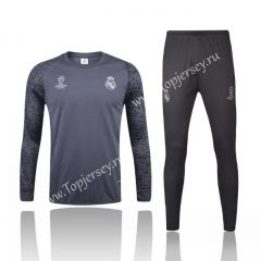2016-17 Real Madrid UEFA Champions LeagueLight Gray Thailand Soccer Tracksuit