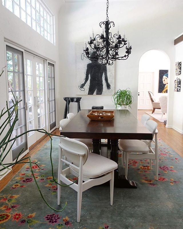 Colorful Art Deco Rug In An Otherwise Black And White Dining Room Studio