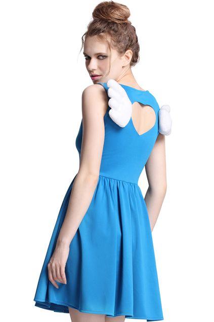 #RomwePartyDress ROMWE | Cut-out Wings Embellished Blue Dress, The Latest Street Fashion