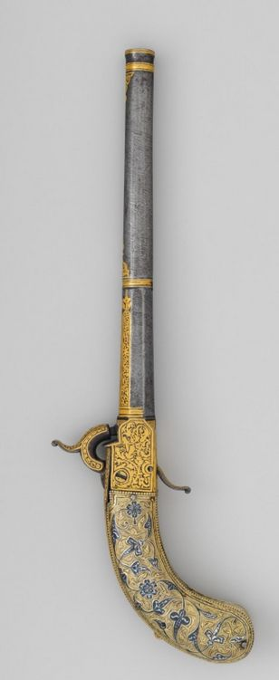 Ornate gold and silver decorated Caucasian percussion pistol, early to mid 19th century.