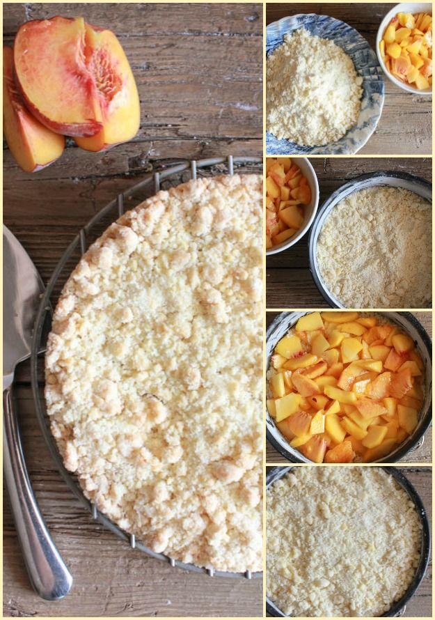 Makkelijk Italiaanse Fresh Peach Crumb Cake, een heerlijke perzik dessert recept, snack, dessert of zelfs ontbijt.  Alleen of met ijs cream.Perfect!