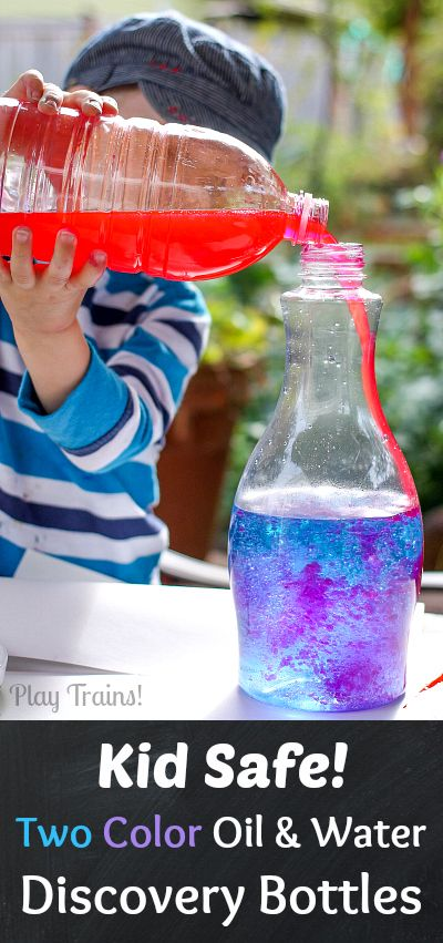 KID SAFE Two-Color Oil and Water Discovery Bottles @ Play Trains! These vibrant discovery bottles contain no lamp oil, using all edible ingredients to make them safe for young children to make themselves!