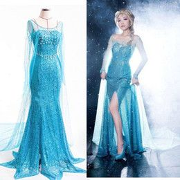 Lady Princess Elsa Dress Queen Costume Adult Tulle Maxi Elsa Gown Fancy Dress for Adults