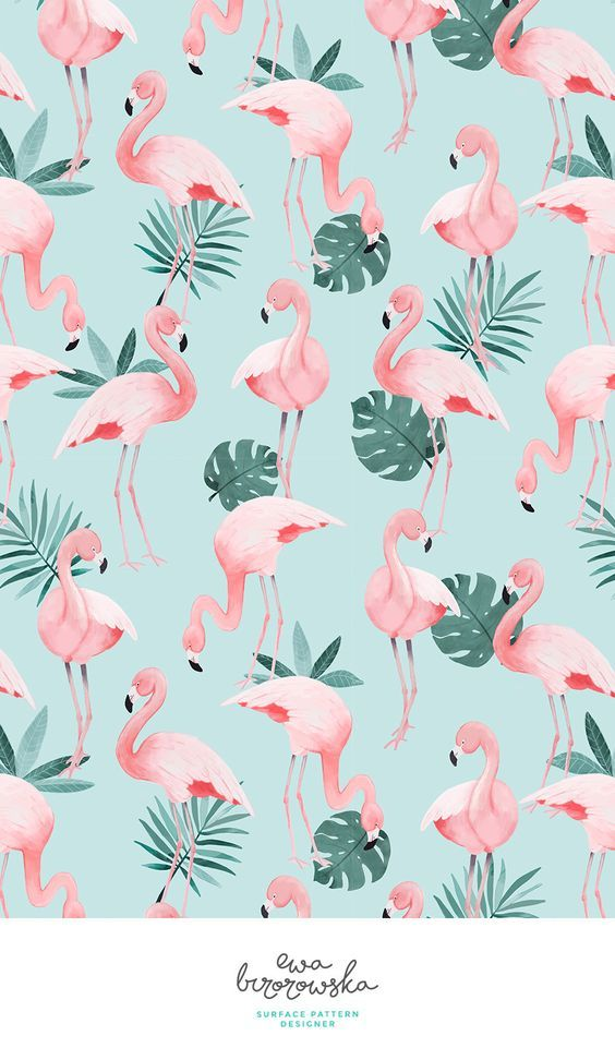 Flamingo – textile surface pattern design with flamingos on mint background with…