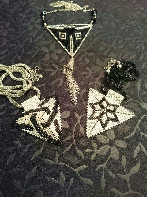 Black and silver miyuki triangle necklace