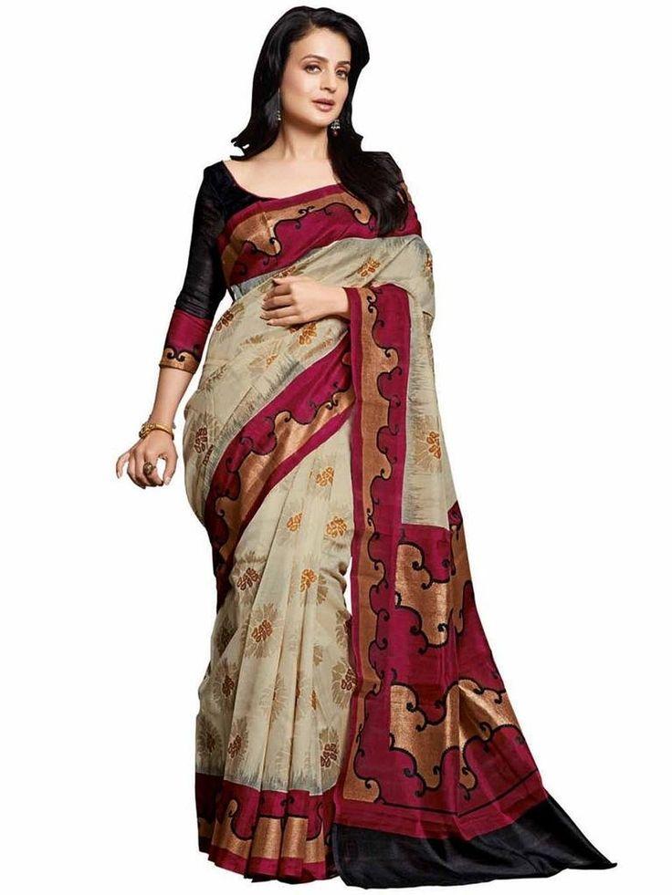 Vipul Minakari Silk Saree 11447 Red Pure
