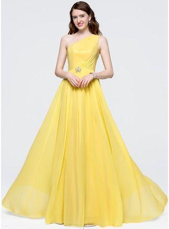 Forme Princesse Seule-épaule Longueur ras du sol Mousseline de soie Robe bal d'étudiant avec Plissé Brodé Paillettes