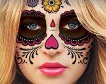 Sugar Skull Temporary Face Tattoo - Hearts & Flowers - Day of the Dead - Calavera - Halloween Costume