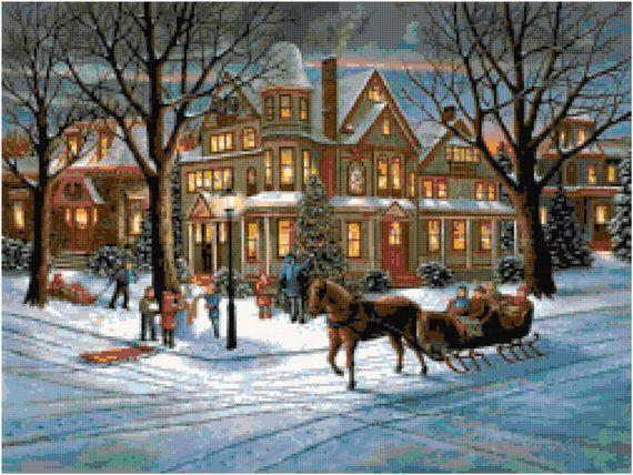 Victorian Christmas Cross Stitch Pattern by SherrysHouse on Etsy, $6.50