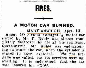 Mr F Ruhle - motorcar almost completely destroyed by fire. http://nla.gov.au/nla.news-article19966974