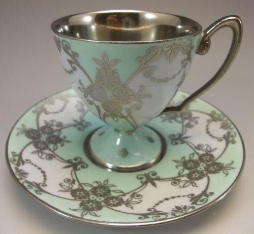 Asprey's Royal Worcester Demitasse Tea Cup Set Bone China Mint Green Silver