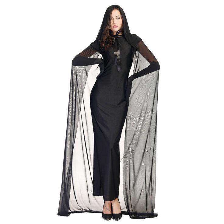 Women Spooky Witch Costume Adult Party Fancy Dress Halloween Long Dress Black #Unbranded #Dress