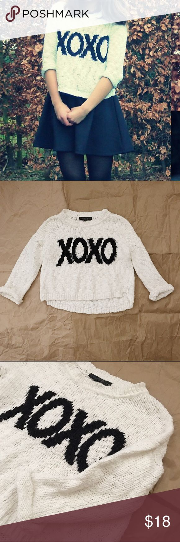 TOPSHOP XOXO White Sweater In great condition. Topshop PETITE Sweaters