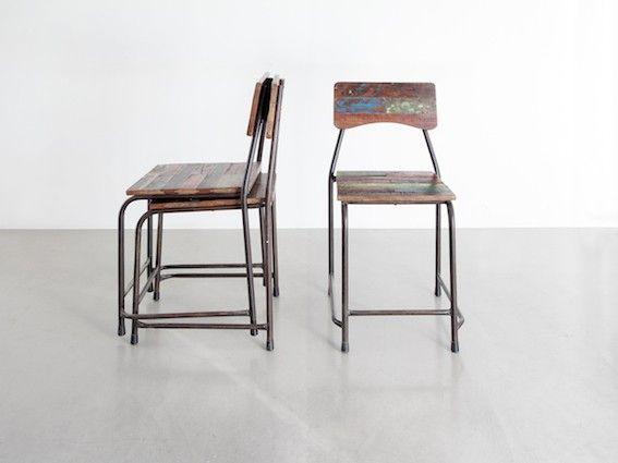 FINN – Industrielle / rustikke stoler i tre og metall