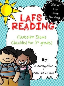 This product includes more than 120 questions correlating to the 3rd grade Language Arts Florida Standards (LAFS) for Reading Literature (R.L.) and Reading Informational Text (R.I.). Each R.L. and R.I. standard includes at least 7 questions.  This checklist is a great resource for teachers to use when creating text dependent questions for close reads, small group instruction, guided reading groups, whole group instruction, and assessments.