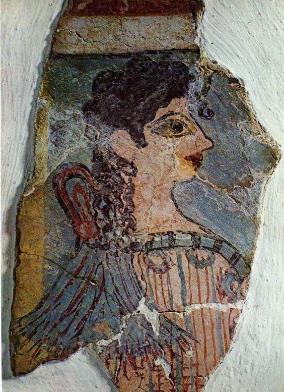 """Dipinto chiamato da Arthur Evans """"La parigina"""", raffigurante una sacerdotessa. Ritrovato a Cnosso (II millennio a.C., Creta). Museo Archeologico, Iráklion"""