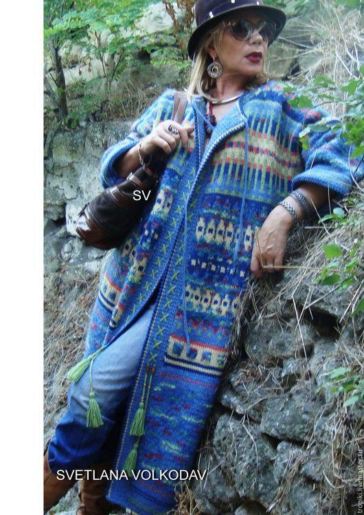 Верхняя одежда ручной работы. Пальто вязаное жаккардовое демисезонное в этно стиле. Светлана Волкодав SV (tropiki). Интернет-магазин Ярмарка Мастеров.