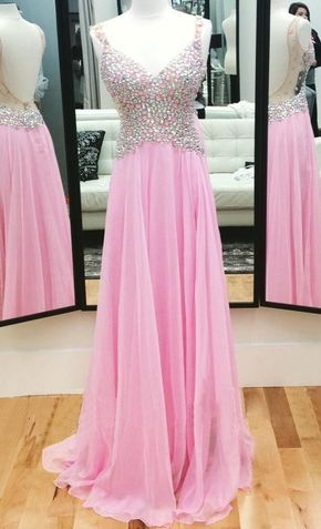 V-Neck Prom Dress Pink Rhinestone Prom Dress