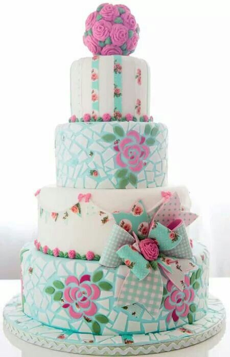 Shabby Chic Mosaics cake four tier fondant floral roses Aqua white pink