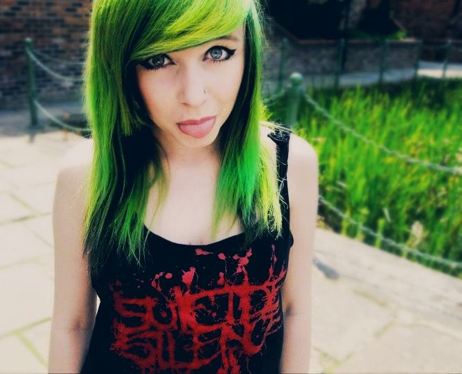 green and black hair