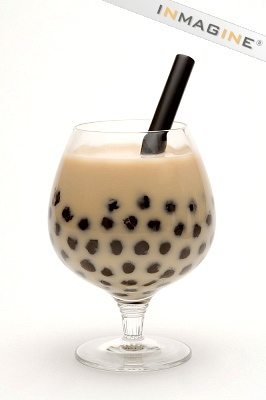 ... Milk tea with black tapioca pearl. Summer drink with crushed ice