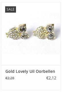 € 2,12 Gold Lovely Uil Oorbellen www.ovstore.nl/nl/gold-lovely-uil-oorbellen.html