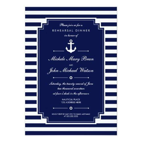 Dark Blue White Nautical Rehearsal Dinner Invite