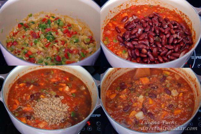 Chili vegetariano. Pasos