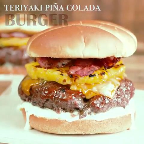 Teriyaki Pina Colada Burger is our favorite! It's a secret blend of meat for the juiciest burger, teriyaki sauce, pineapple and a special pina colada sauce. Pina Colada, Turkey Burger Recipes, Beef Recipes, Cooking Recipes, Stuffed Hamburger Recipes, Barbecue Recipes, Cooking Tips, Gourmet Burgers, Beef Burgers