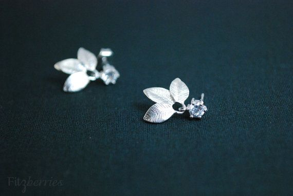 Tiny zirconia earrings  Nature inspired earrings  by Fitzberries, $25.00