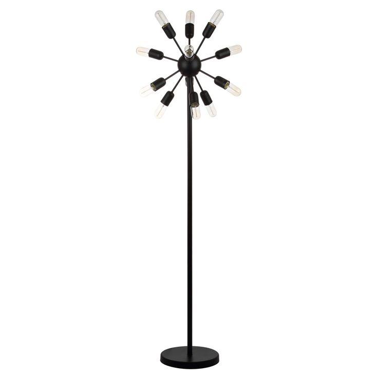 Urban 12 Light 67.5Inch H Retro Floor Lamp Black - Safavieh