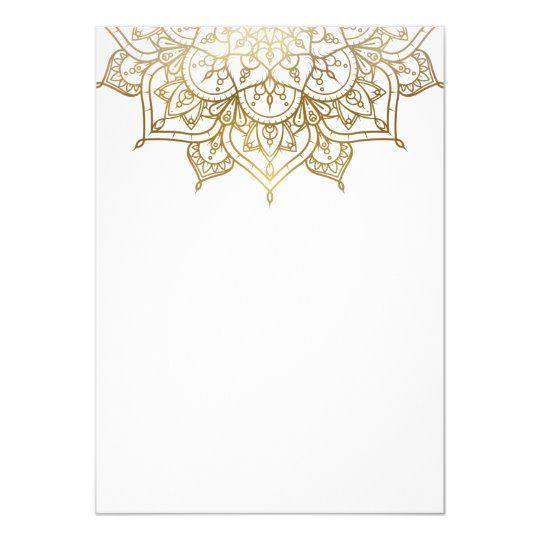 Gold Mandala White Modern Elegant Minimal Wedding Invitation Zazzle Com In 2020 Minimal Wedding Invitation Floral Border Design Gold Mandala