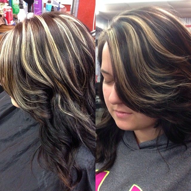Dark Brown Hair With Blonde Highlights Double Foiled To Of Dark