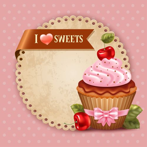 Cute cupcakes vector invitation cards 01