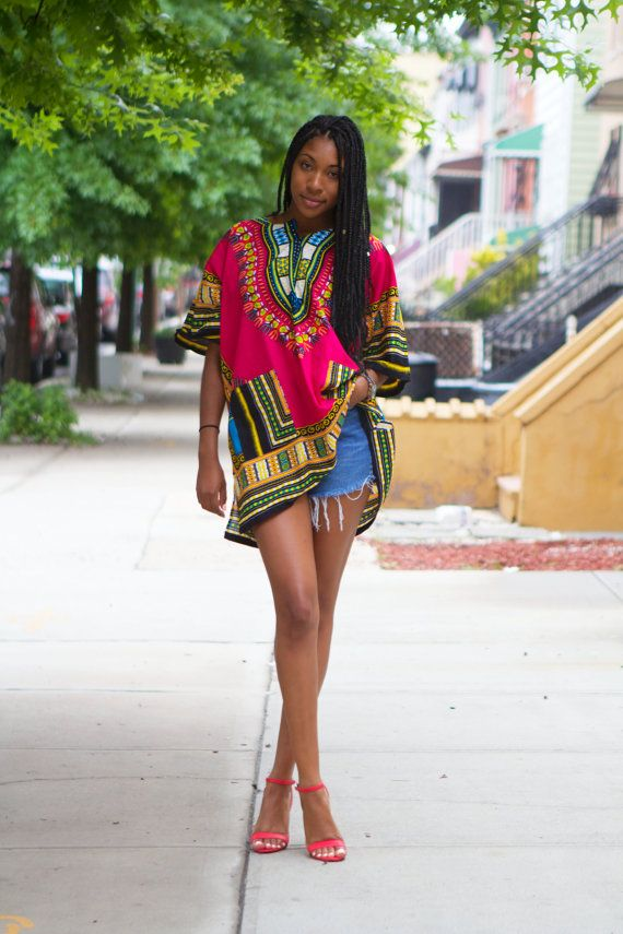 Dashiki Hot Pink African Shirt  Unisex  One Size by tribalgroove