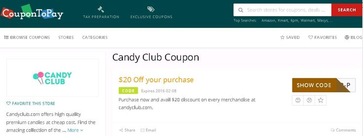 Shop and save with latest 38 Candy Club coupons for January 2016. Todays top Candy Club promo code: $20 Off your purchase. http://www.coupontopay.com/candy-club-coupon-codes/all-coupons