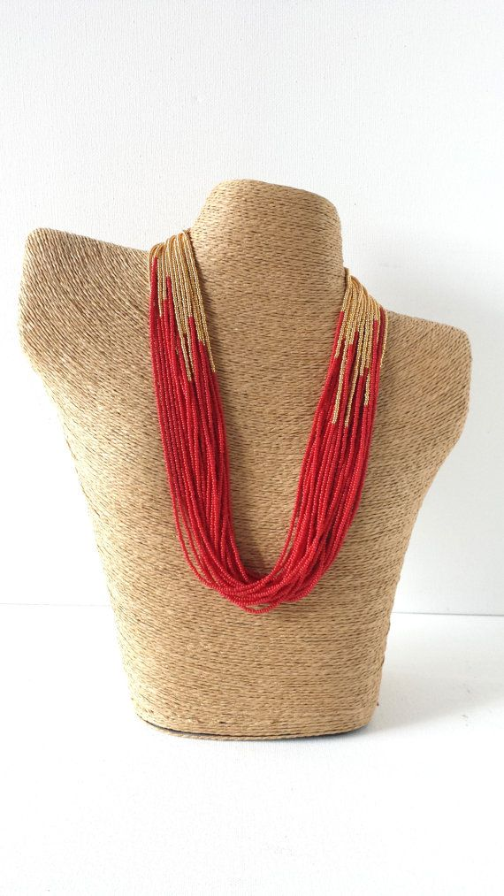 Red and gold necklace, red statement necklace,red necklace,gift idea,statement necklace,boho,multistrand,beaded necklace,seed bead necklace