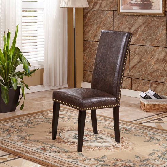 Espresso Waxed Texture Faux Leather Parson Chairs With Nail Head (Set Of 2)